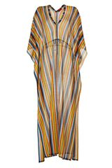 Missoni Currypetrol Rainbow Stripe Maxi Caftan in Orange (petrol) - Lyst