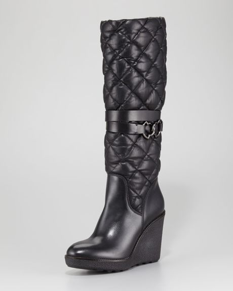 moncler cernobbio quilted leather wedge boot in black lyst
