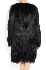 Mulberry Mongolian Goat Hair and Leather Coat in Black - Lyst