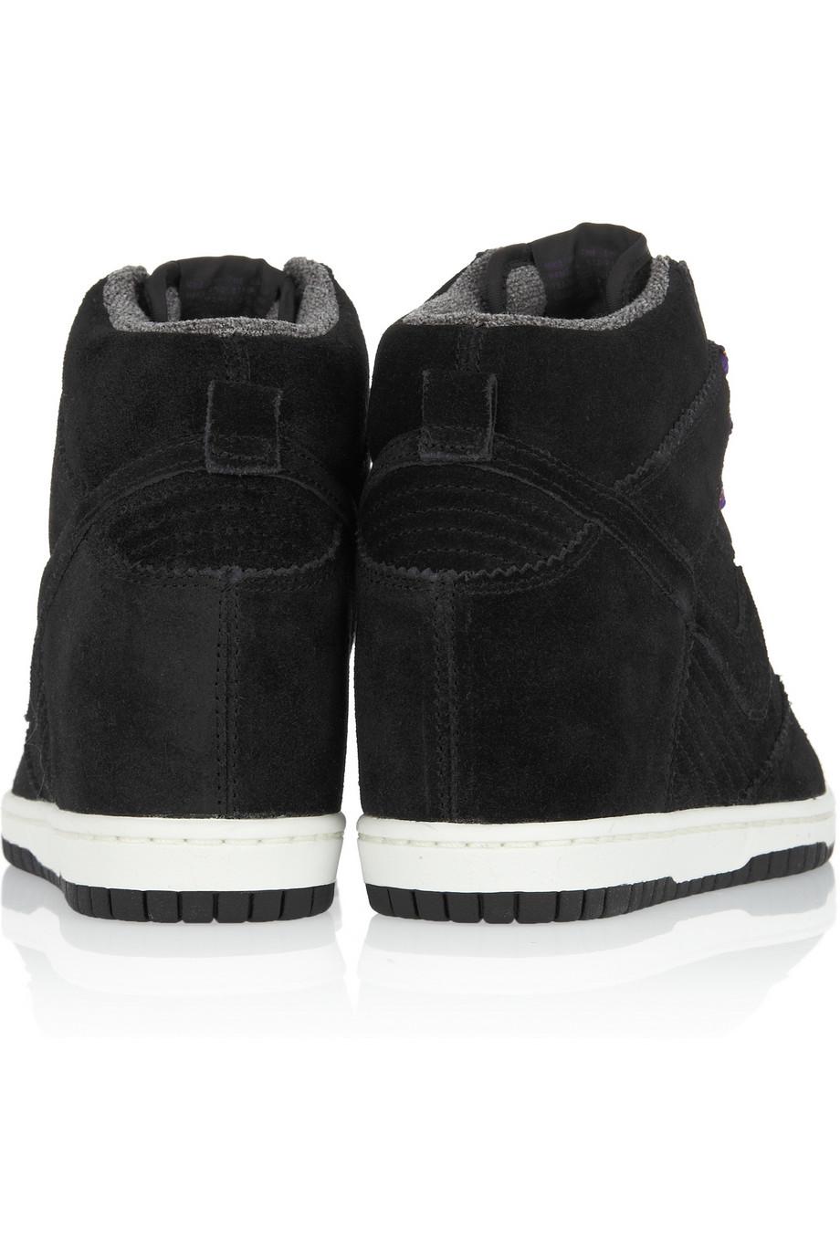 Nike Dunk Sky Hi Suede Wedge Sneakers in Black - Lyst