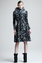 Oscar de la Renta Foxcollar Brocade Dress - Lyst
