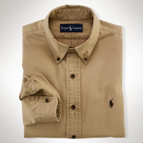 Polo Ralph Lauren Customfit Chino Shirt In Brown For Men