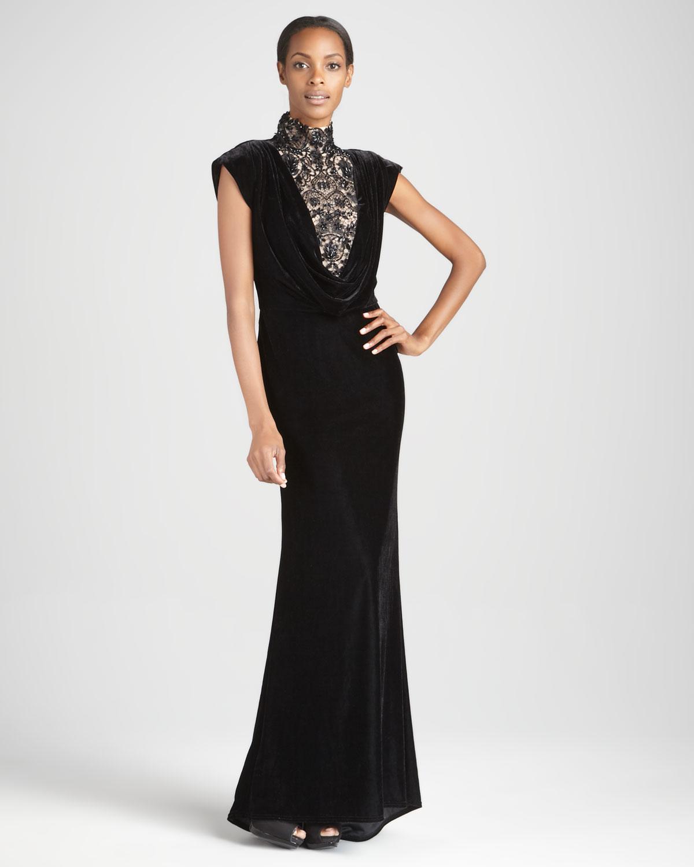 Lyst - Tadashi Shoji Capsleeve Velvet Gown in Black
