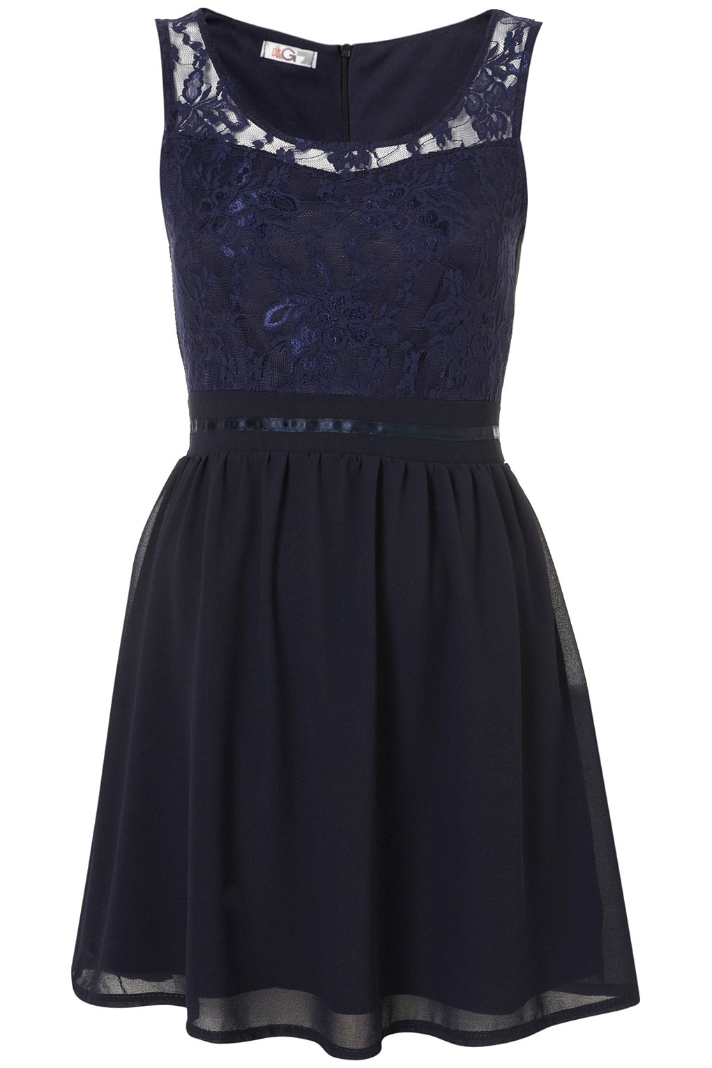 Topshop embroidery lace dress by wal g in blue navy