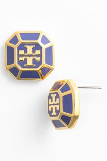 Tory Burch Rylan Logo Small Stud Earrings - Lyst