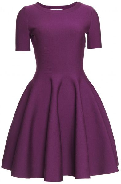 Saint Laurent Flared Dress with Puckered Trim in Purple (eggplant) - Lyst