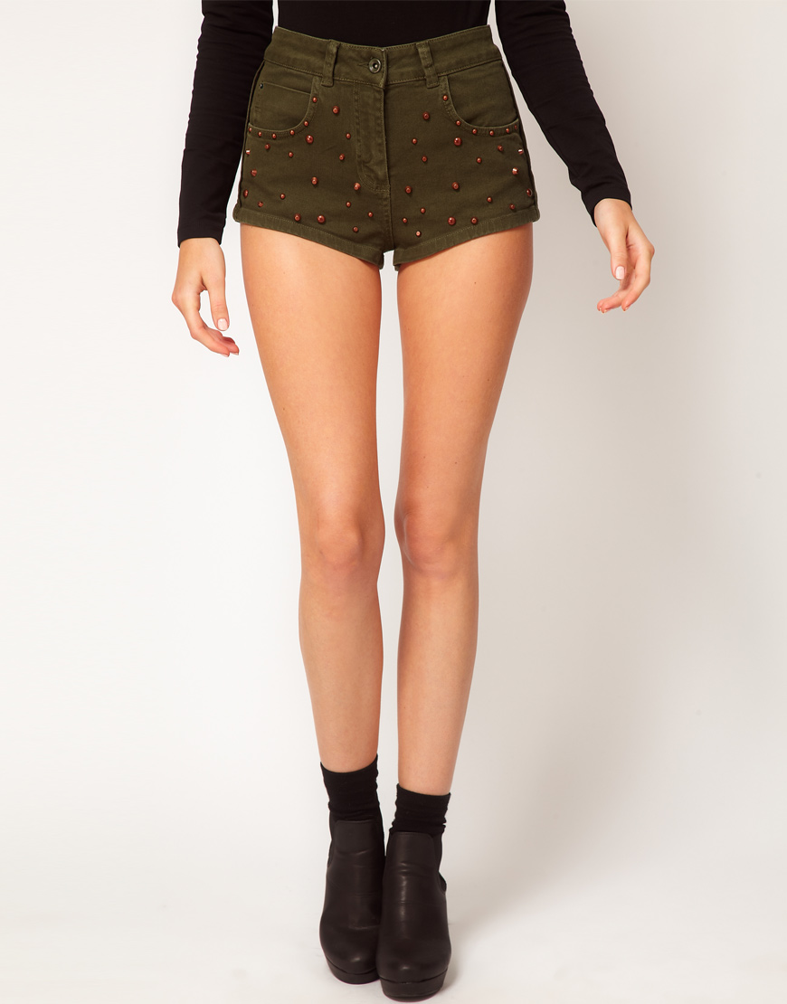 lyst asos collection high waisted denim shorts in khaki