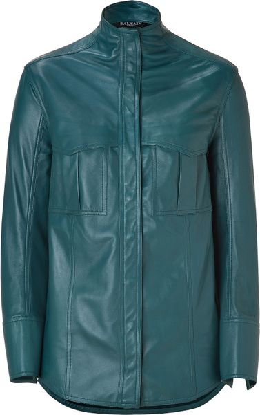 Balmain Petrol Leather Shirt in Blue (petrol)