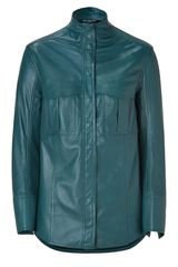 Balmain Petrol Leather Shirt in Blue (petrol) - Lyst