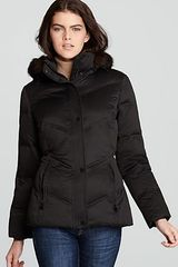 Calvin Klein Short Coat with Bag and Faux Fur Hood - Lyst
