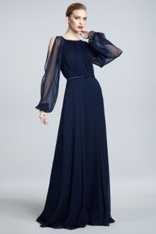 David Meister Signature Illusionsleeve Gown - Lyst