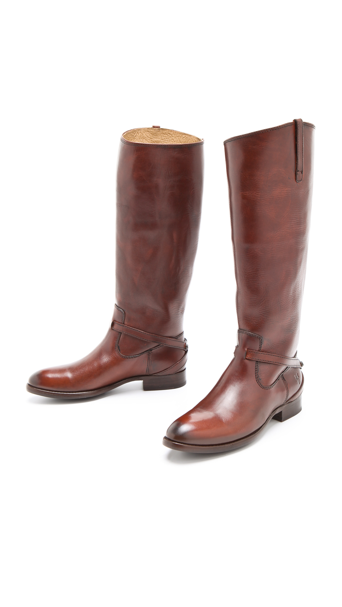 Frye Lindsay Plate Boots In Brown Lyst