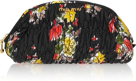 Miu Miu Floral-Print Quilted Cosmetics Case in Floral