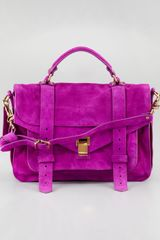 Proenza Schouler 1 Medium Suede Satchel Bag Orchid - Lyst