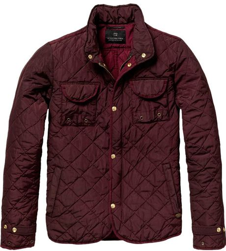 scotch soda quilted jacket in brown for men wine lyst. Black Bedroom Furniture Sets. Home Design Ideas