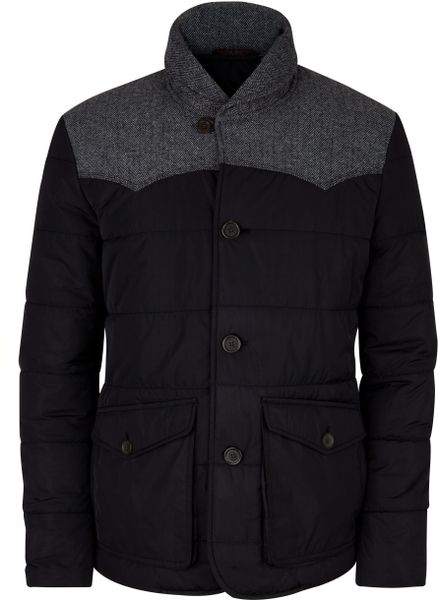 Ted Baker Manchut Quilted Shawl Jacket In Black For Men Lyst