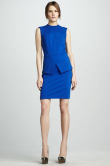 Tibi Cross Peplum Ponte Dress - Lyst