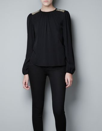 Zara Top with Appliqué On The Shoulder - Lyst