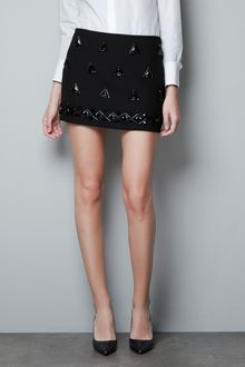 Zara Fantasy Mini Skirt with Diamante - Lyst