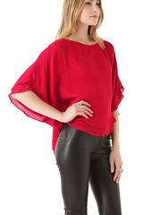 Alice + Olivia Hampton Dolman Sleeve Top in Red - Lyst