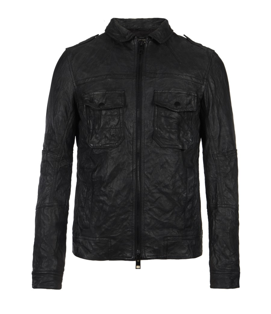 Barbour Sapper Jacket >> Lyst - Allsaints Shift Leather Bomber Jacket in Black for Men
