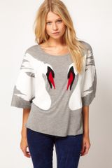 ASOS Collection Asos Top with Swan Mirror Applique - Lyst