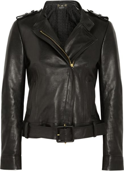 Gucci Belted Polished Leather Jacket in Black - Lyst