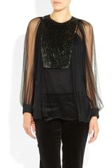 Gucci Pailletteembellished Tulle Blouse in Black - Lyst