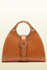Gucci Stirrup Cuir Color Ostrich Top Handle Bag - Lyst