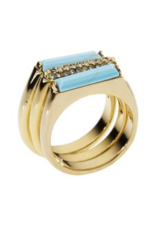 Michael Kors Turquoise Stack Ring with Pave Detail - Lyst