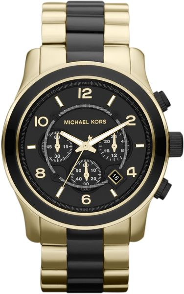 Michael Kors Mens Black and Golden Stainless Steel Runway Chronograph Watch in Black (no color) - Lyst