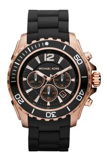 Michael Kors Mens Black Silicone and Rose Golden Stainless Steel Everest Chronograph Watch - Lyst
