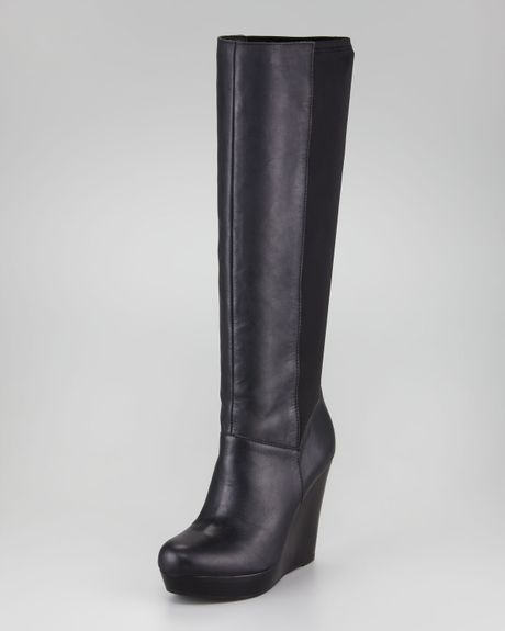 seychelles leather fabricback wedge boot in black blk lyst