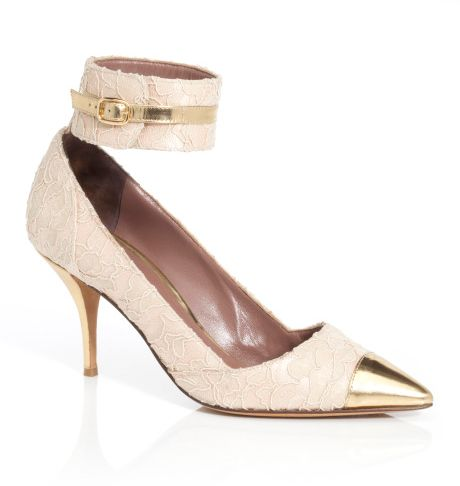 Tabitha Simmons Helen Pump in Gold (nude lace) - Lyst