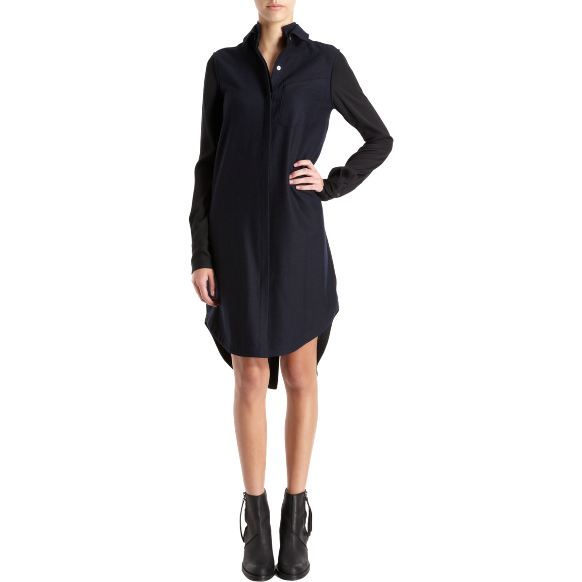 10 crosby derek lam double collar shirt dress in black for Derek lam 10 crosby shirt dress