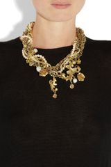 Dolce & Gabbana Goldplated Glass Pearl Necklace in Gold - Lyst