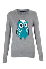 French Connection Ladyowl Knits Long Sleeved Crew Neck Jumper - Lyst