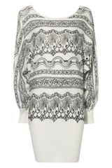 Jane Norman Cream Lace Print Jumper Dress - Lyst