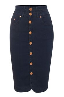 Jane Norman Black High Waisted Denim Pencil Skirt - Lyst