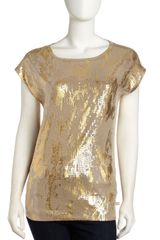 Michael by Michael Kors Foilprint Sequined Blouse Dark Camel - Lyst