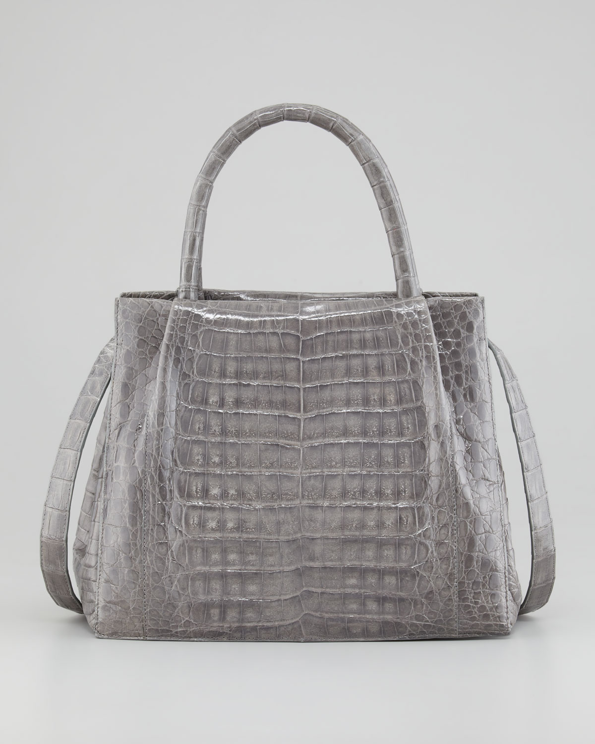 Nancy gonzalez crocodile box small tote bag gray in gray for Nancy gonzalez crocodile tote