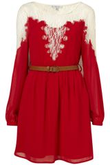 Topshop Lace Insert Dress By Rare in Red (oxblood) - Lyst