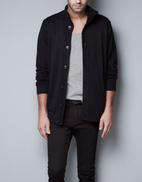 Zara Knitted Jacket With Buttons In Black For Men Lyst