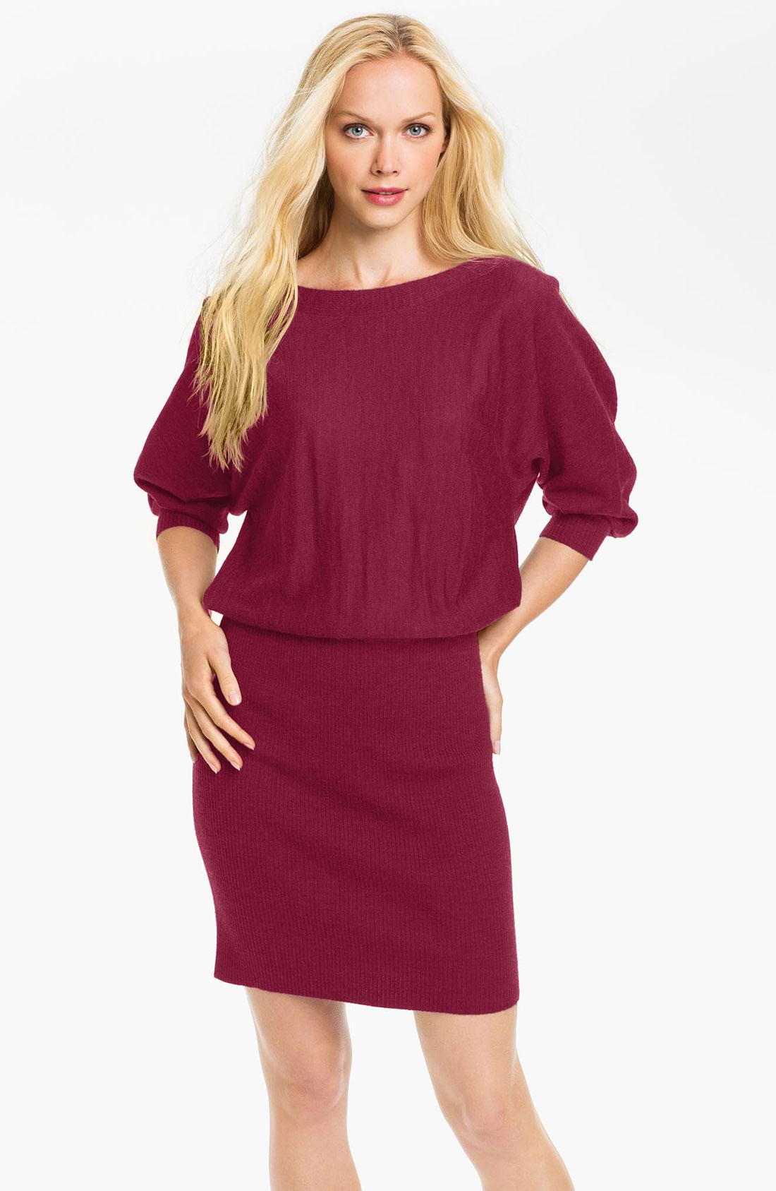 Maggy London Blouson Sweater Dress in Purple (red violet ...