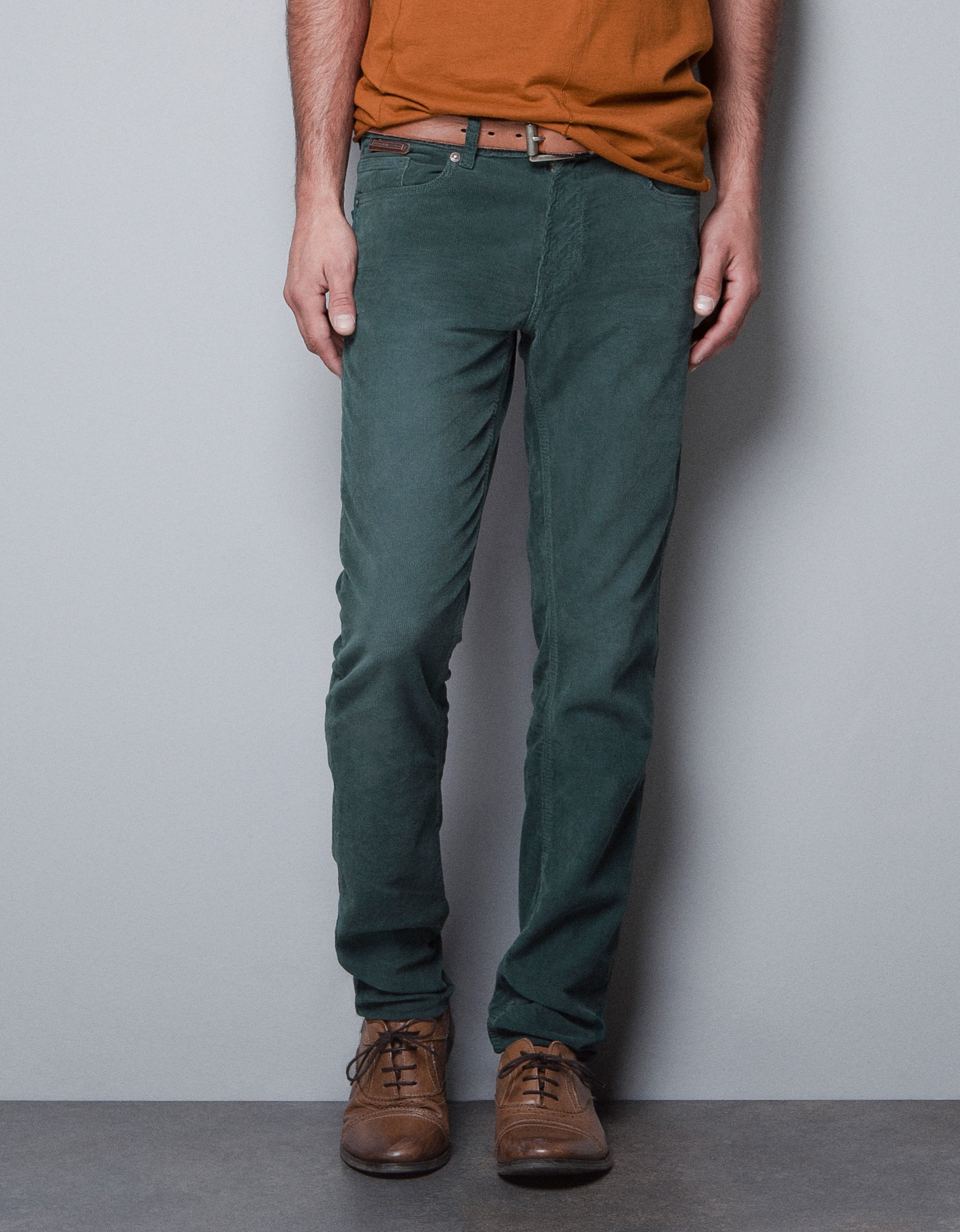 Zara Slim Fit Corduroy Trousers in Green for Men | Lyst