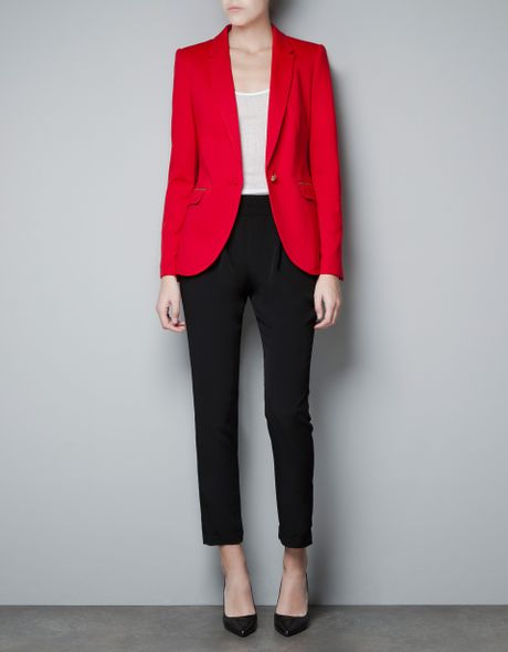 Zara Ponte Di Roma Blazer with Elbow Patches in Red - Lyst