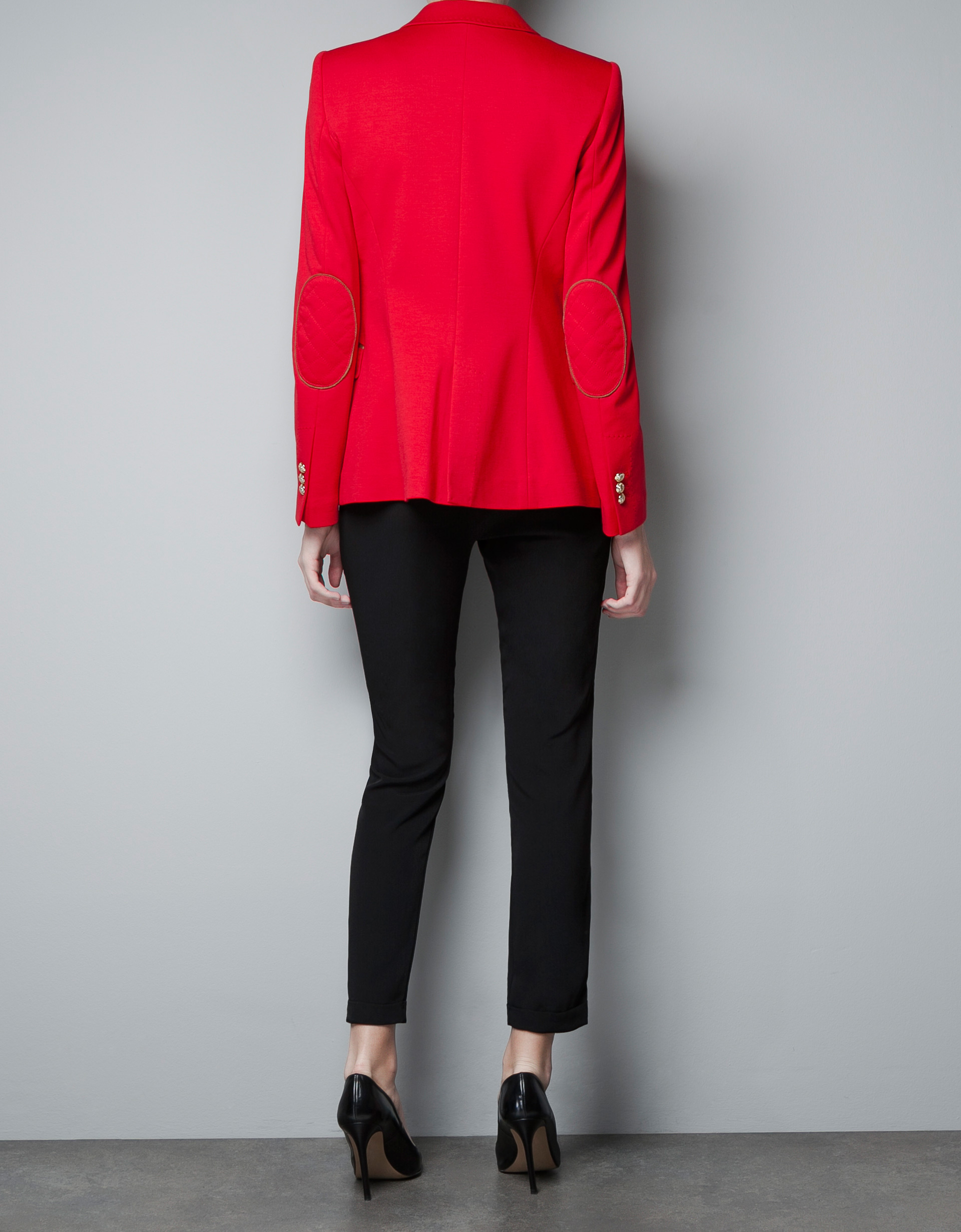 Zara Ponte Di Roma Blazer with Elbow Patches in Red | Lyst