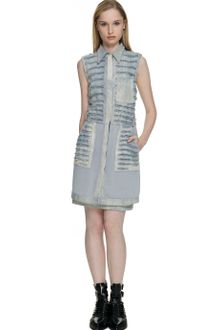 3.1 Phillip Lim Bleached Cotton Denim Shredded Shirt Dress - Lyst