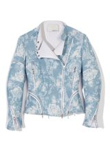 3.1 Phillip Lim Floral Relief Printed Corded Motorcycle Jacket in Floral (sky blue) - Lyst