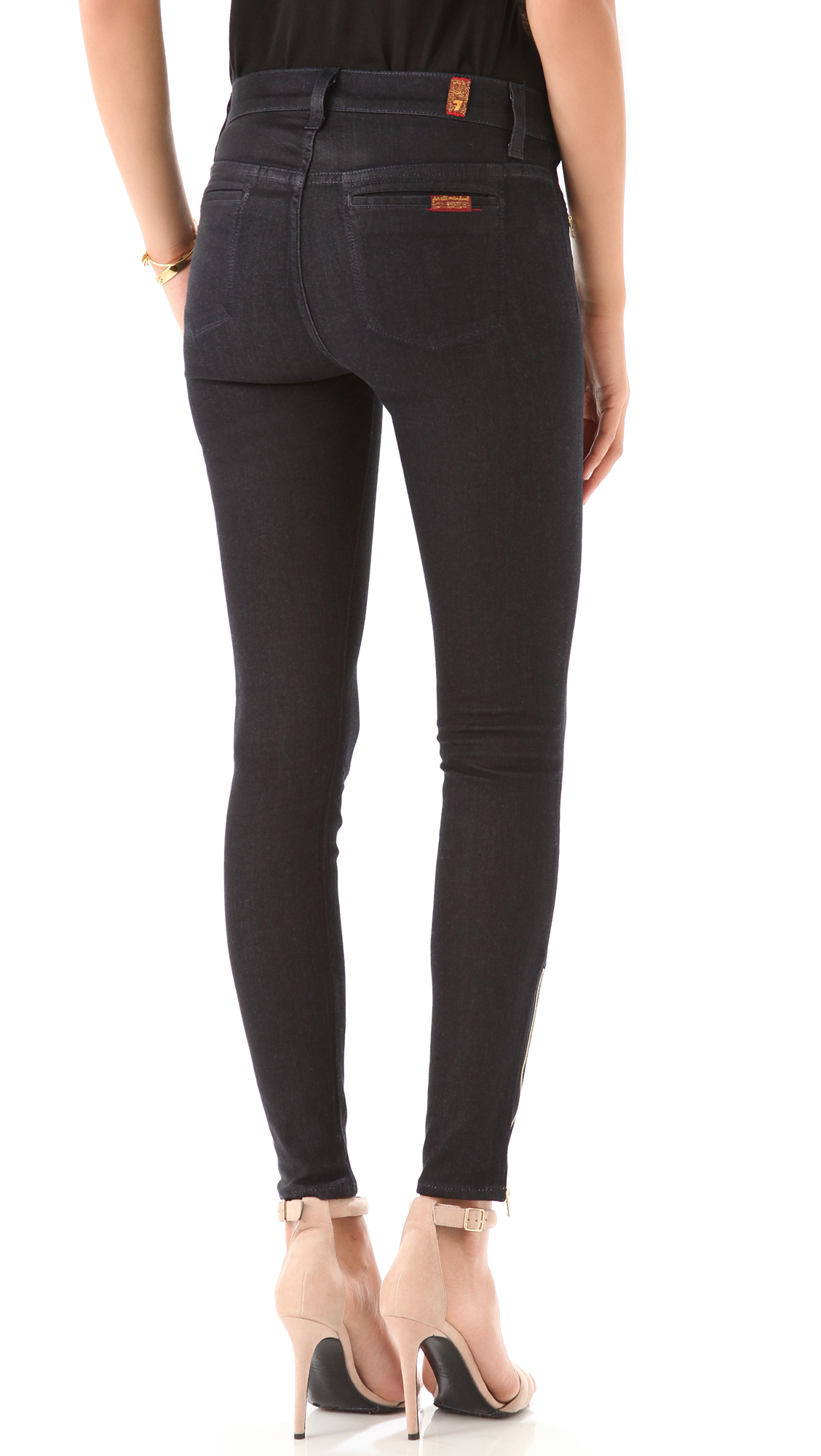 Lyst 7 For All Mankind Skinny Savannah Coated Jeans In Black